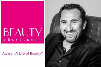 """Bild zu Sammy Gharieni erhält bei der BEAUTY DÜSSELDORF 2020 den Award """"A Life of Beauty"""""""