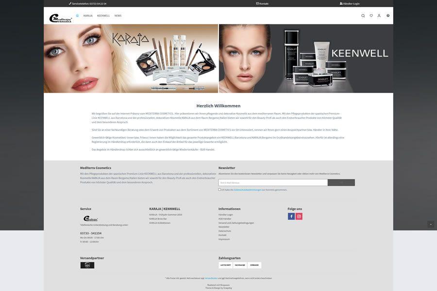 Mediterra Cosmetics - Webseite in neuem Layout