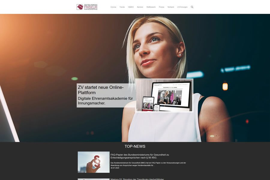 ZV Website in neuem Design